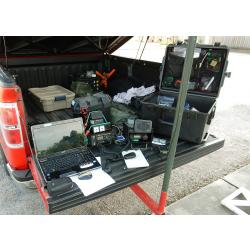 KF5FNP SET 2015 CU of radio gear on back of truck